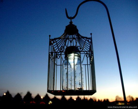 Hanging Solar Bird Cage Mason Jar Garden Decor   Upcycled Lighting,  Wedding, Outdoor Garden