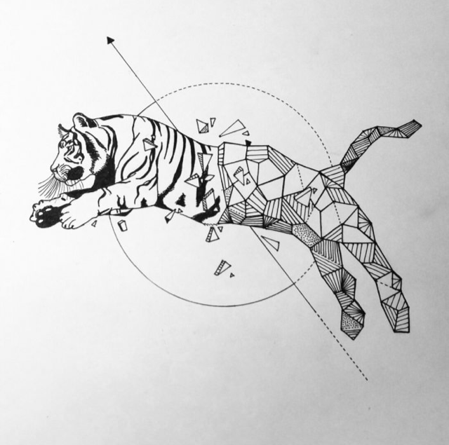 Tiger Line Drawing Easy : Geometric tiger art simple pencils inspired by