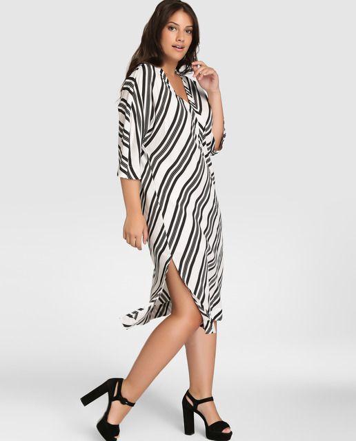 b302be70c3 Vestido de mujer talla grande Couchel con estampado de rayas