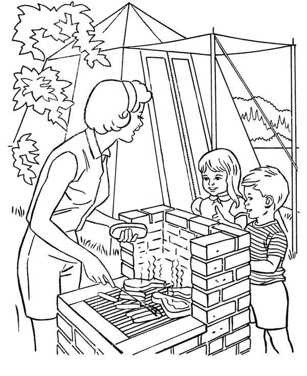 Helping Mother Cooking at Camping Coloring Pagejpg 600734