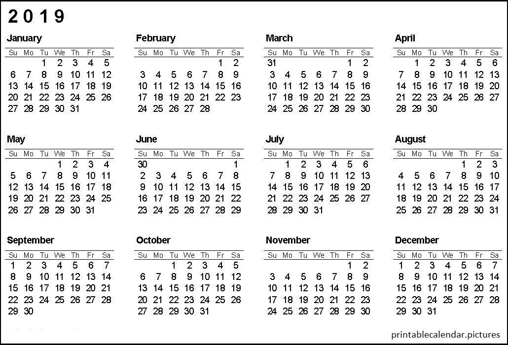 Printable Calendar 2019 Printable Calendar 2019 Pinterest