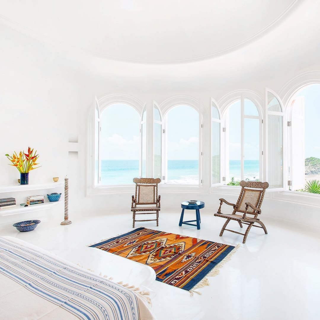 Good Stunning White Interiors With Gorgeous Pops Of Colour At The Cuixmala Resort!  Love This Space And That View!