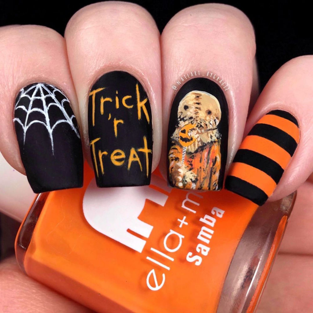 Halloween Nail Art Designs From Popular Movies To Copy Ibeautybook Cute Halloween Nails Halloween Nail Designs Sam Trick R Treat