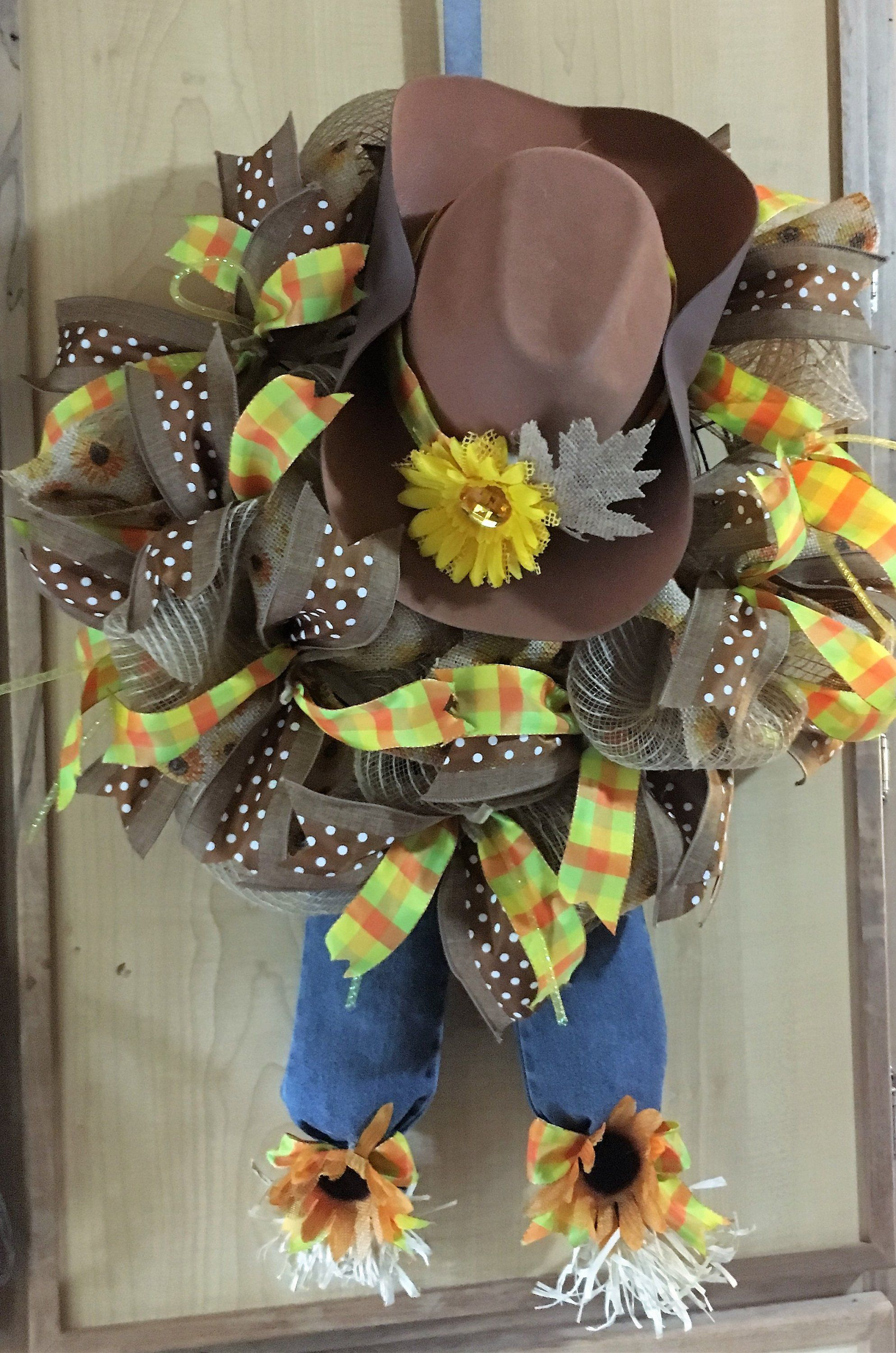 Western Scarecrow Cowboy Wreath, Western Wreath, Scarecrow Wreath, Brown Hat, Cowboy Front Door Wreath,Rodeo, Wyoming Cowgirl Wreath #scarecrowwreath