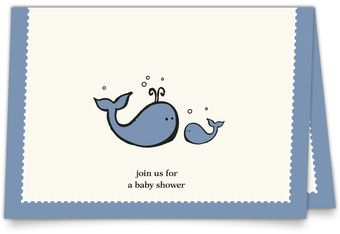 Linen Baby Shower Invitations - Little Whales