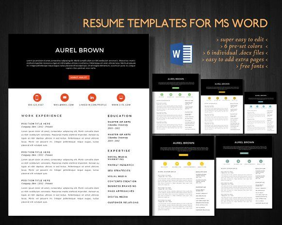 2 in 1 Modern Word resume pack Modern words and Template - resume 1 or 2 pages