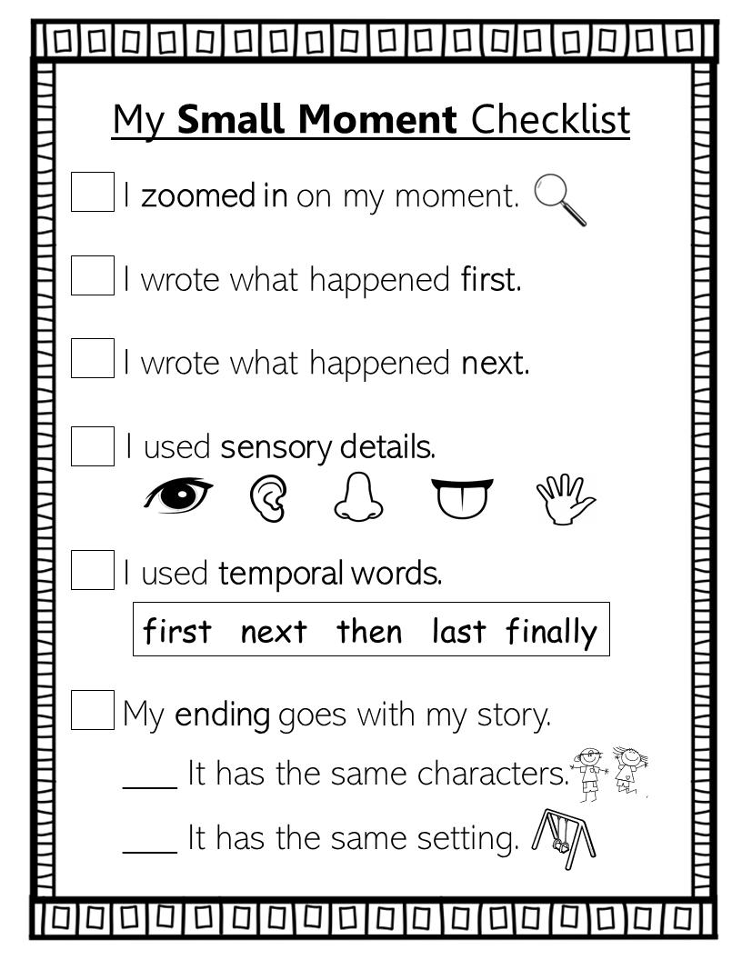 1st Grade Small Moment Writing Checklist Writing Checklist Narrative Writing Checklist Writing Standards [ 1056 x 816 Pixel ]