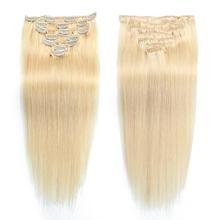 Febay Clip In Human Hair Extensions Straight Remy Human Hair Human Hair Brazilian Hair Medium Brown / Bleached Blonde