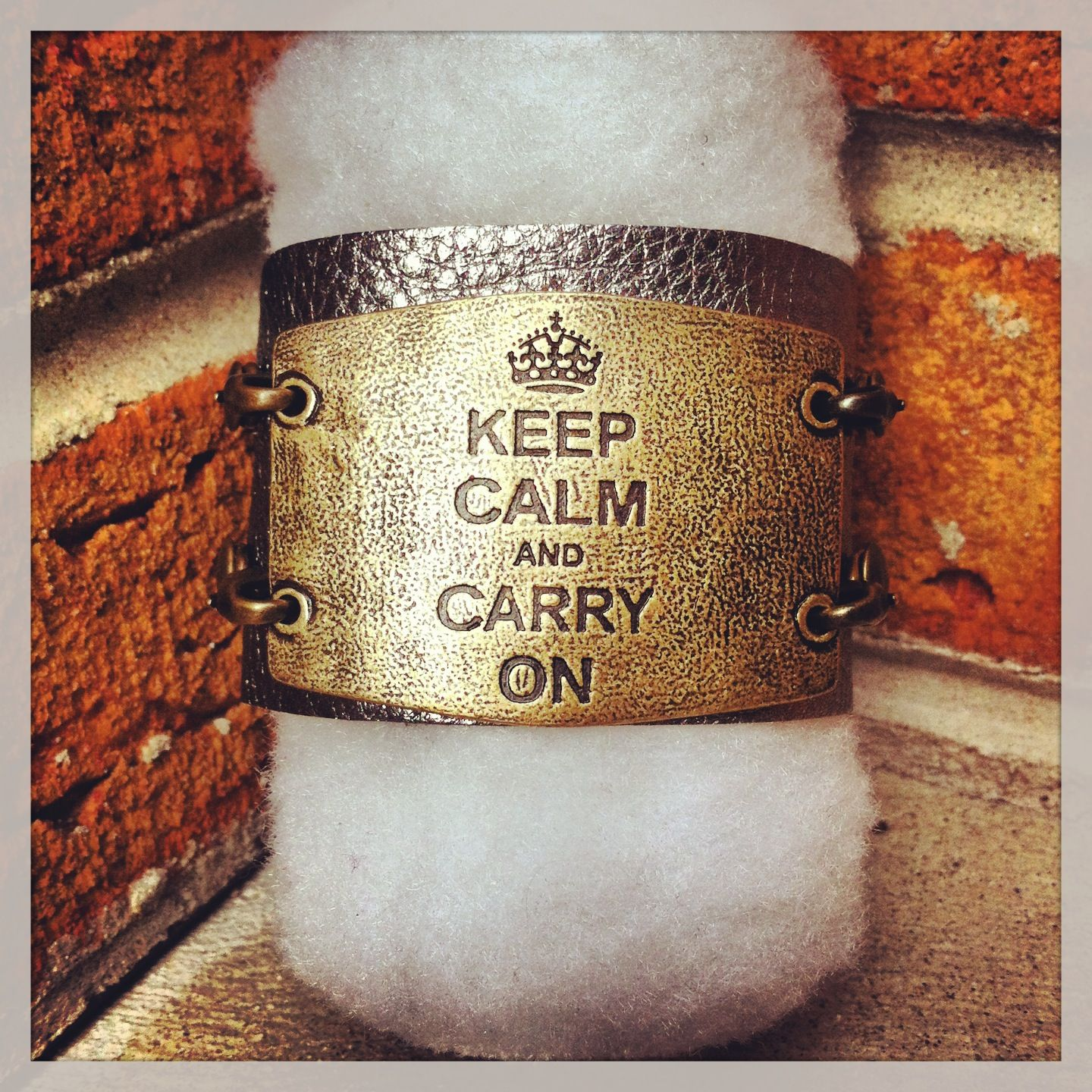 Keep Calm and Carry On leather cuff from Lenny & Eva available at enzee boutique