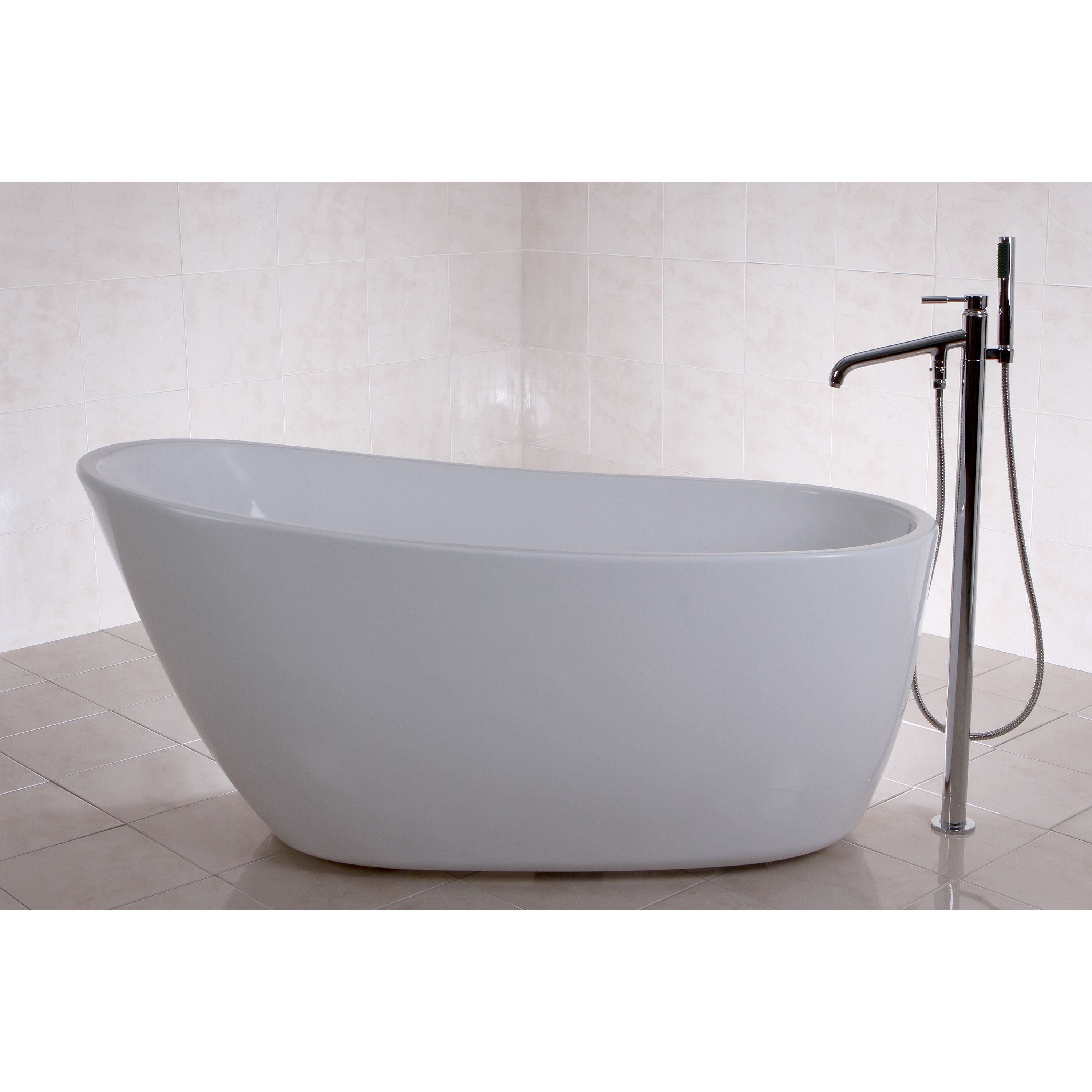 Fusion Freestanding 59 Inch Acrylic Bathtub | Overstock.com Shopping   The  Best Deals