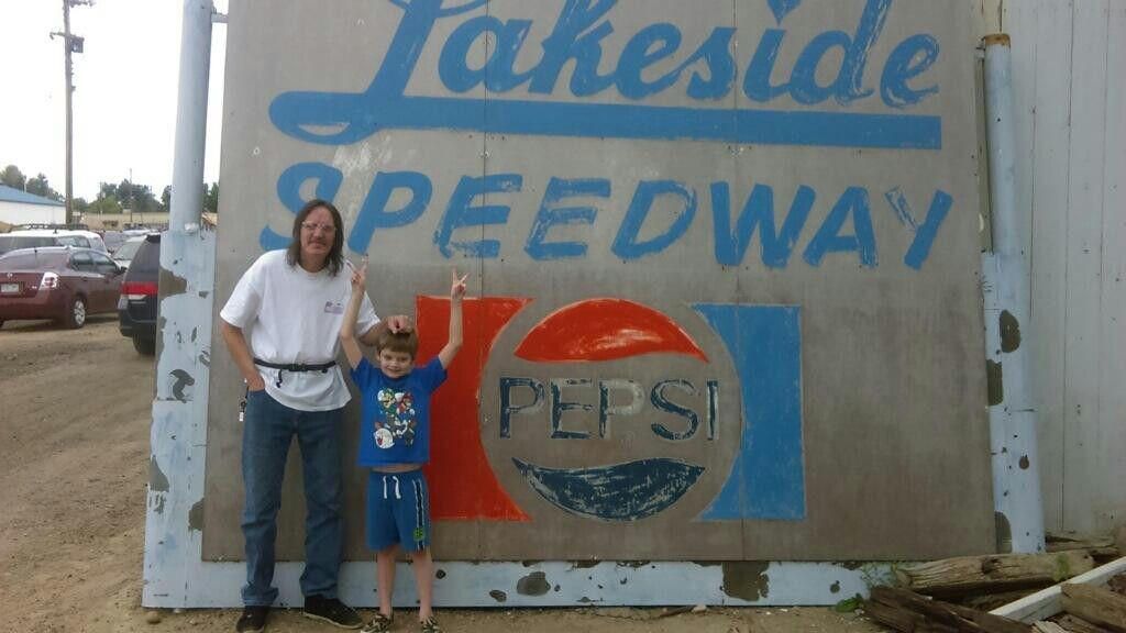 Me and my son at lakeside speedway ..i wish it was still