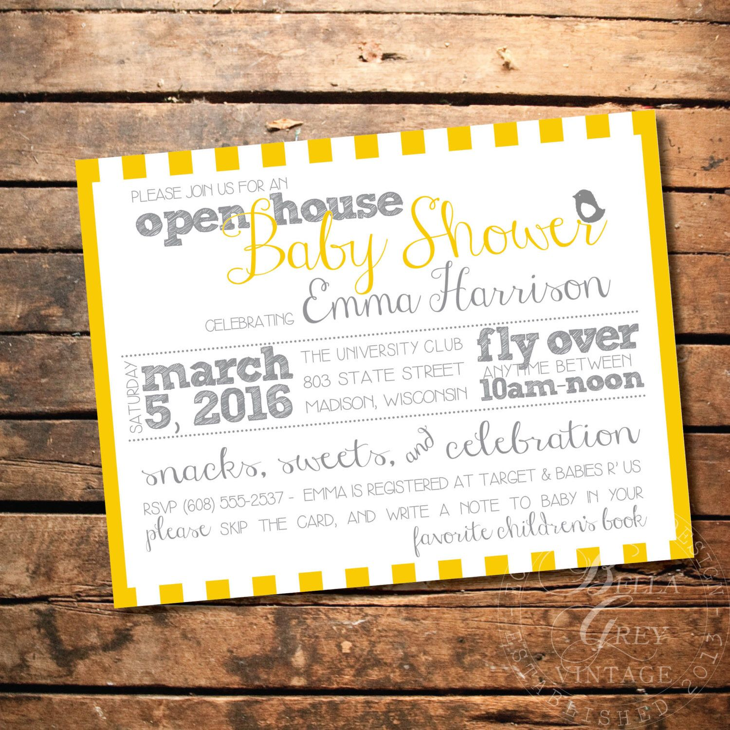 Gender Neutral Bird Themed Baby Shower Invitation Open House