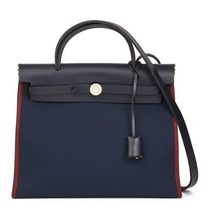 Photo of Herbag cloth tote Hermès Blue in Cloth – 7196524
