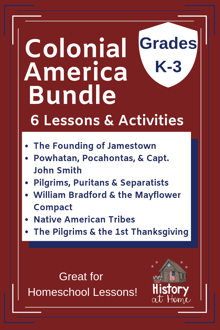 Photo of Colonial America Lessons & Activities Bundle for Homeschool Grades K-3