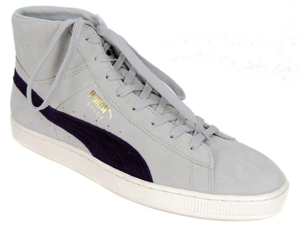 PUMA Men's Suede Mid-Classic+ Sneaker Shoes Gray/Violet-Peacoat Suede Size  12
