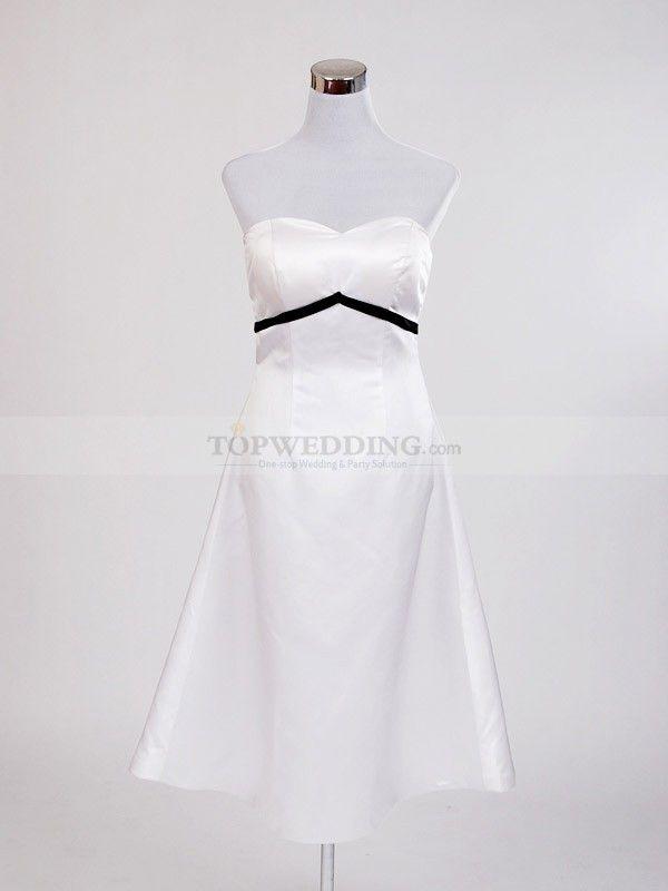 Sweetheart Ivory Satin Tea Length Party Dress with Black Belt