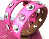 Bubblegum Pink Leather Dog Collar with Gems and Studs, Size M to fit a 14-17in Neck, OOAK