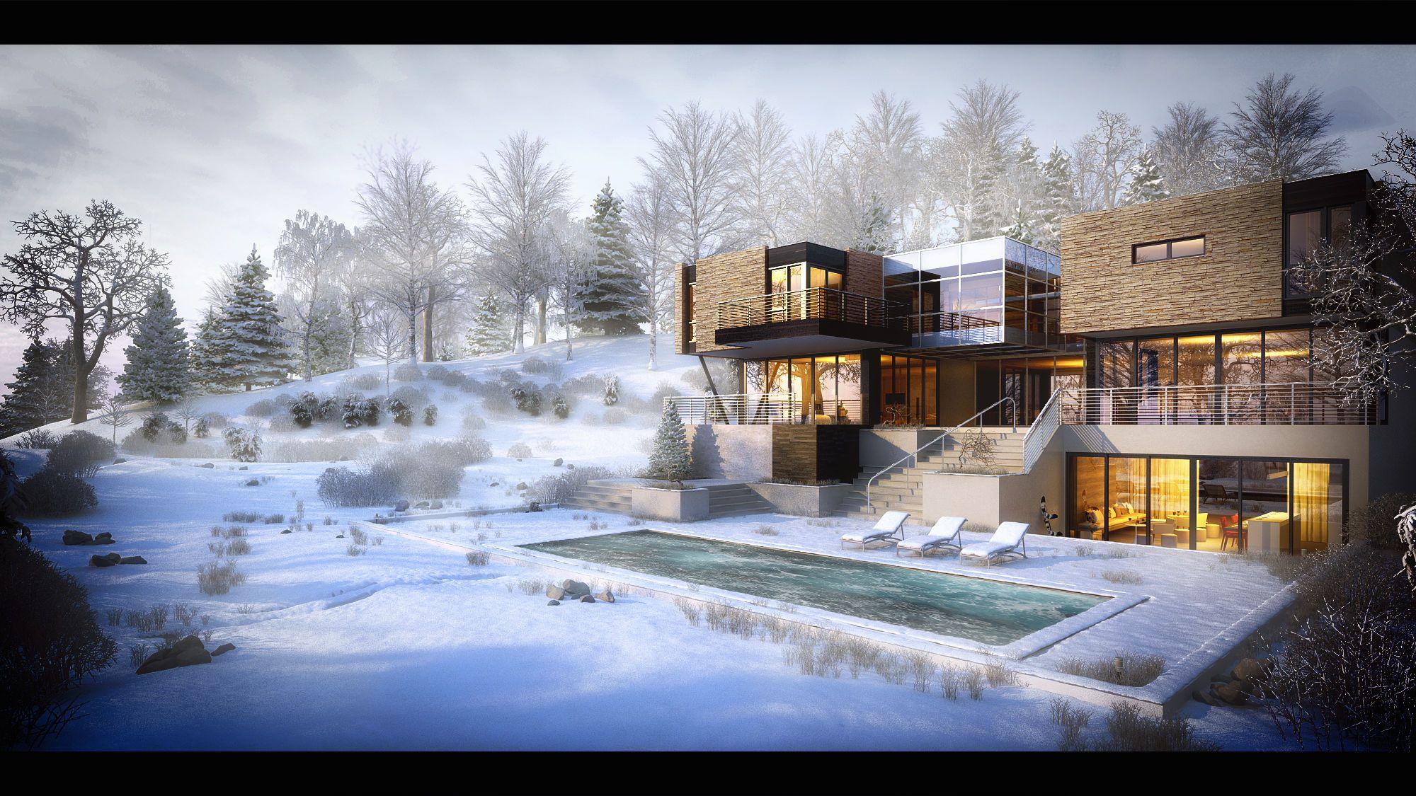 зимний пейзаж с виллой фото сделать маленький деревянный