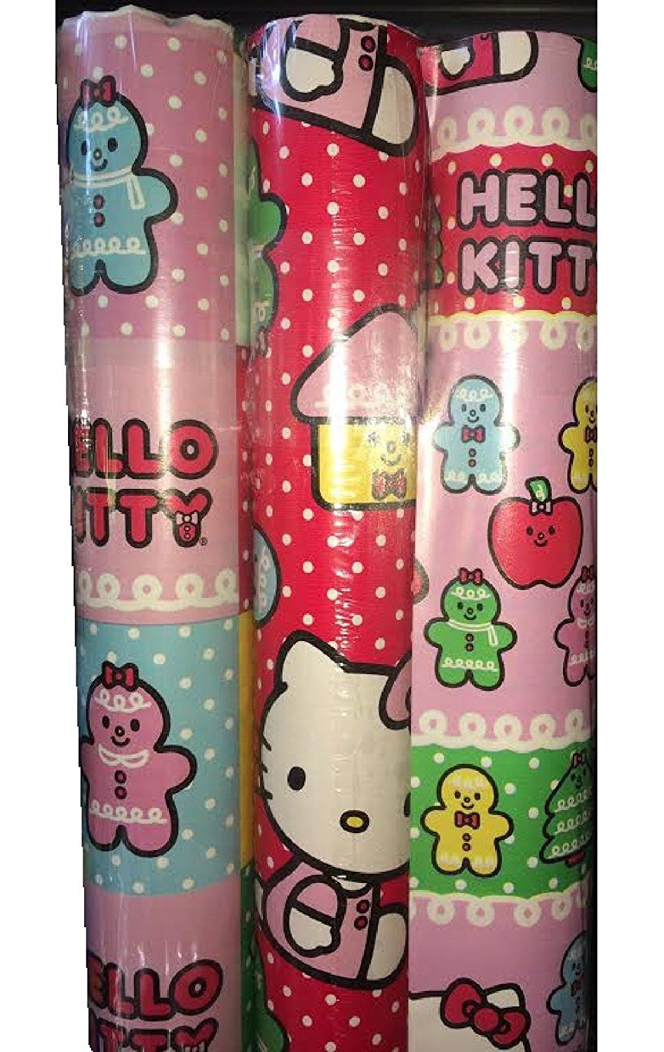Hello kitty 3 pack gift wrap paper pink and purple