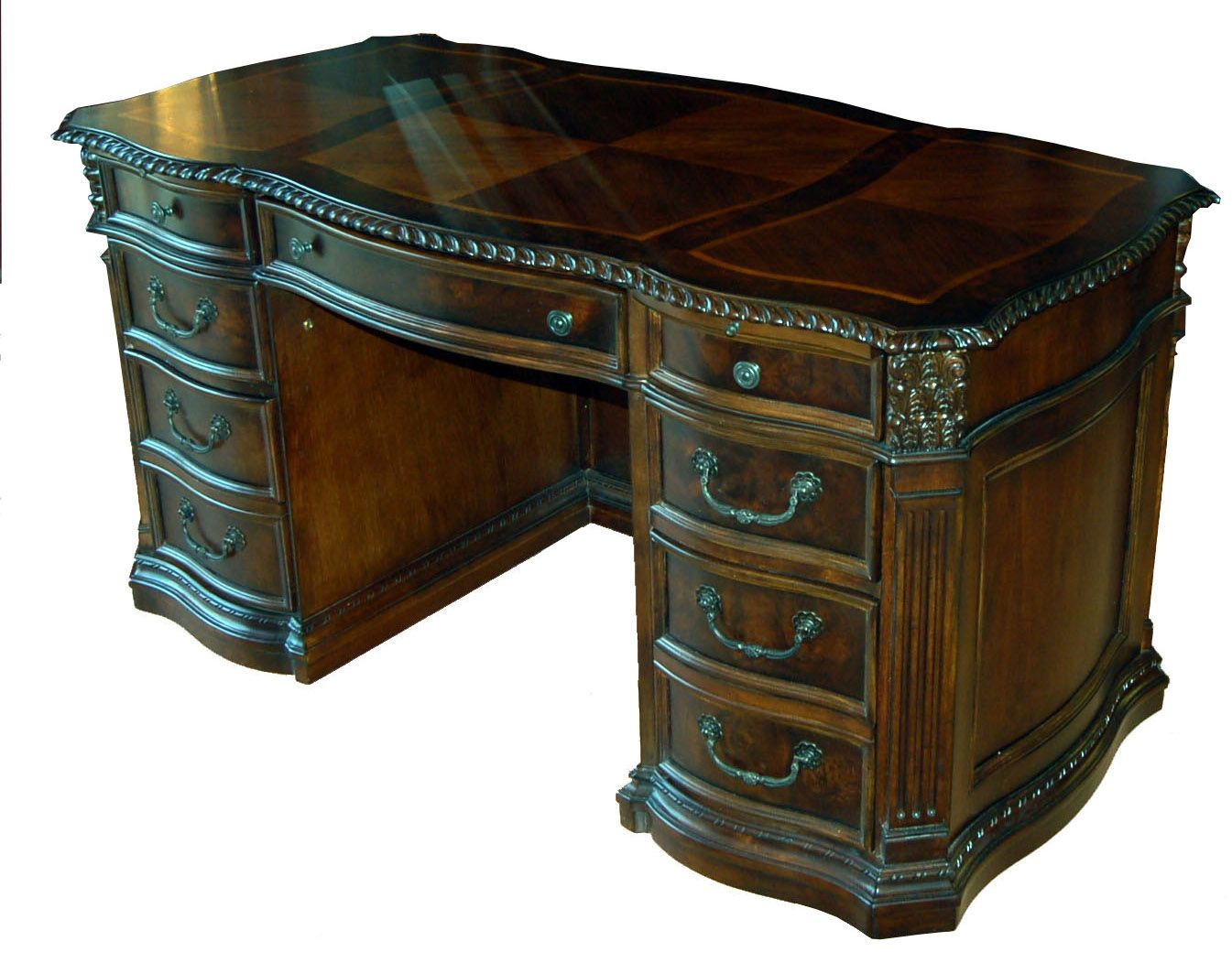 Old World Walnut Executive Office Desk