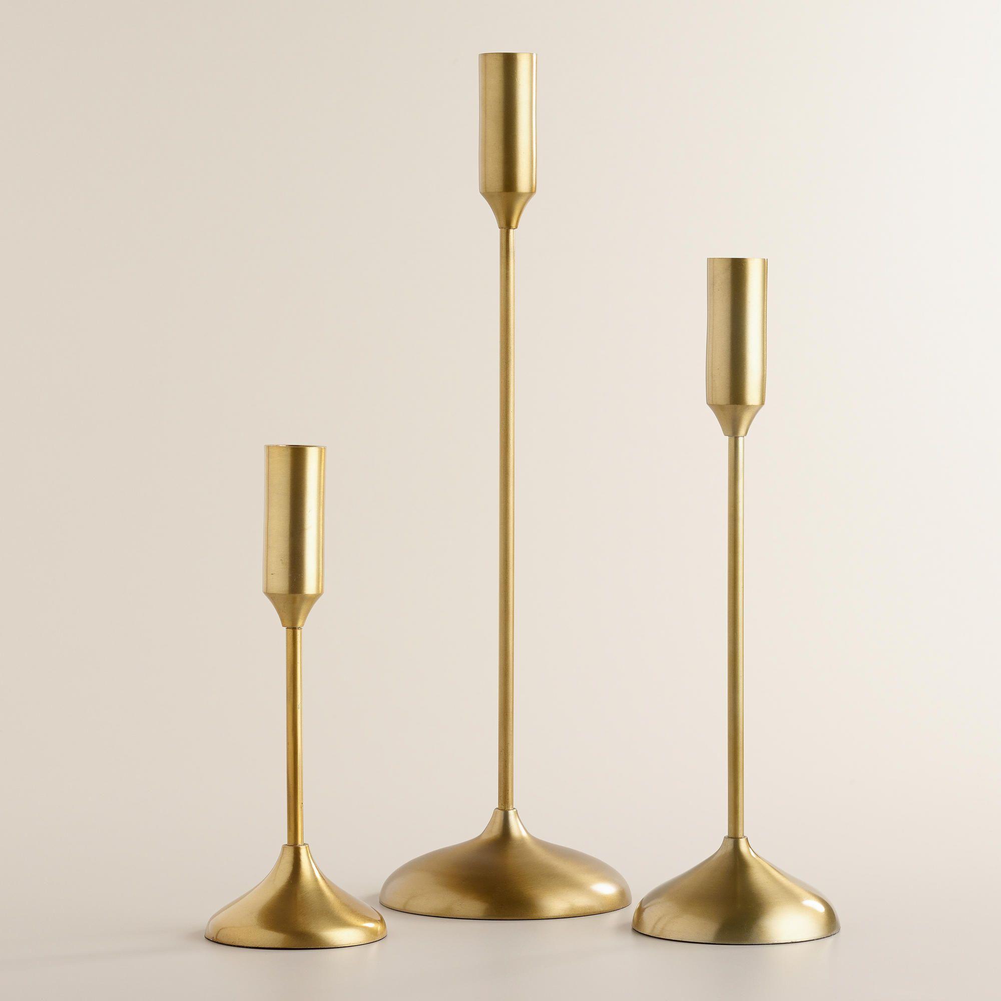 Gold Metallic Taper Candleholders
