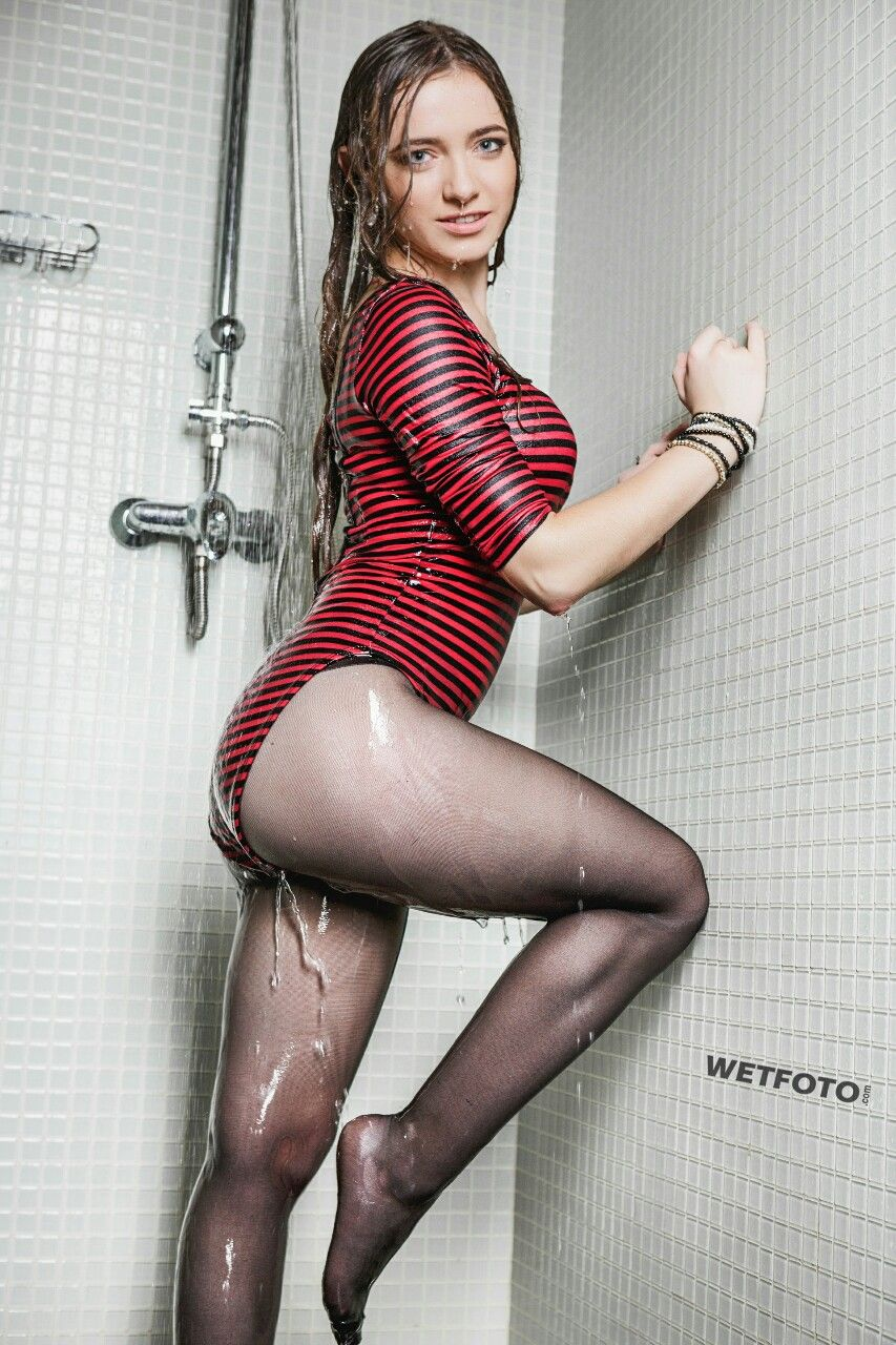 Wetting Black Tights In The Shower