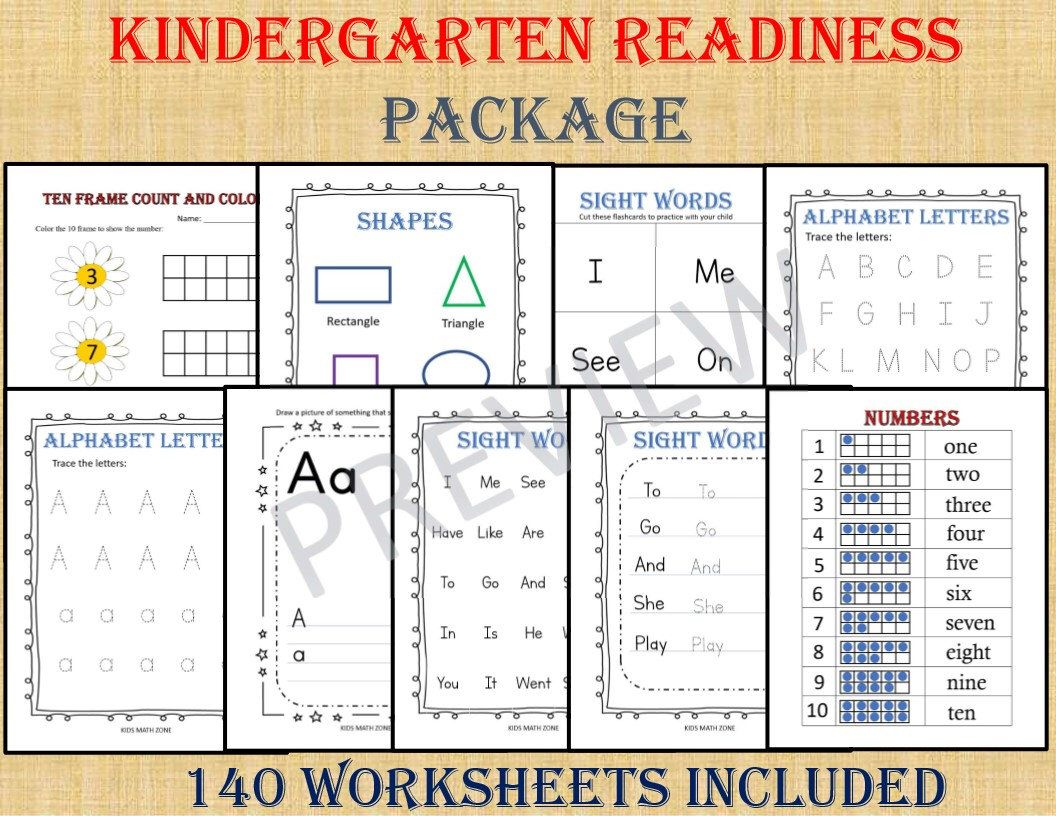 Kindergarten Readiness Package 140 Worksheets