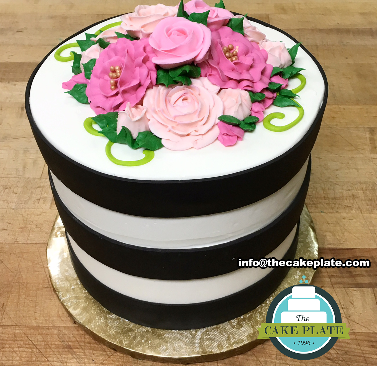 Pink buttercream flowers and stripes cake. Classic. | The Cake Plate Instagram Austin & Pink buttercream flowers and stripes cake. Classic. | The Cake Plate ...