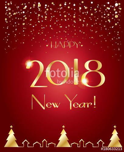 Vector Happy New Year 2018 luxury greeting card Elegant Christmas - best of luxury invitation vector
