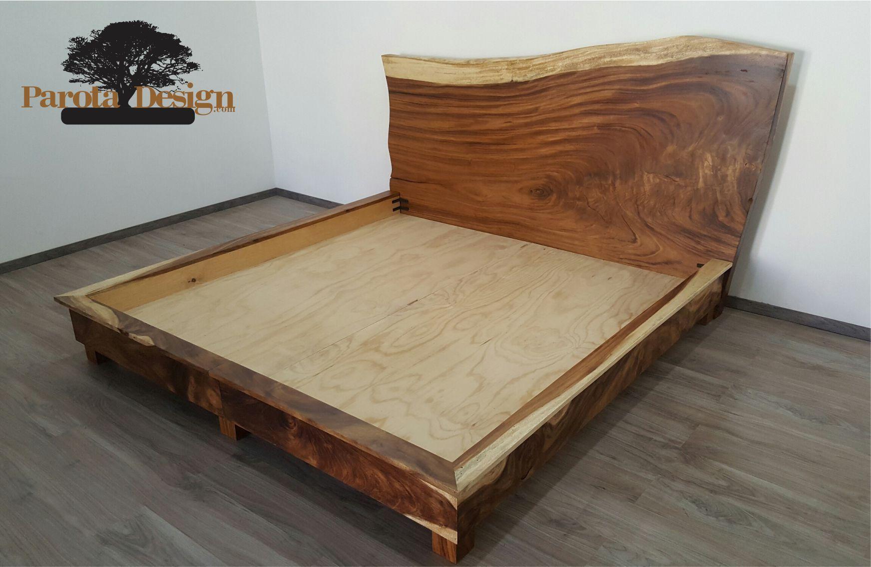Cama de parota king size cabecera de madera de parota for Cama king size de madera