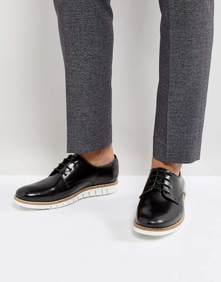 ASOS Lace Up Derby Shoes In Suede With Hybrid Sole QBiOa
