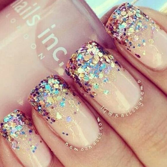 Glitter Placement | Easy New Years Eve Nail Designs Sparkle | Easy Party  Nail Art Ideas for Summer - Glitter Placement Easy New Years Eve Nail Designs Sparkle Easy
