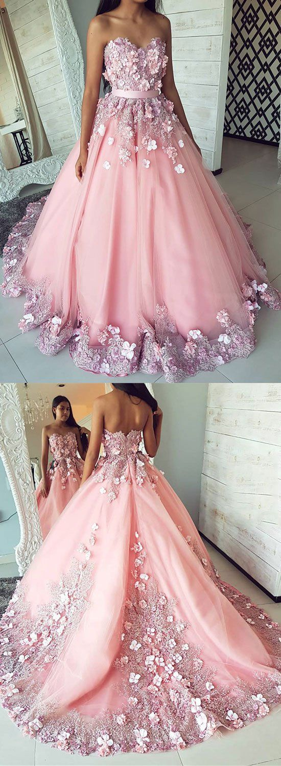 Pink tulle lace applique long prom dress pink evening dress prom