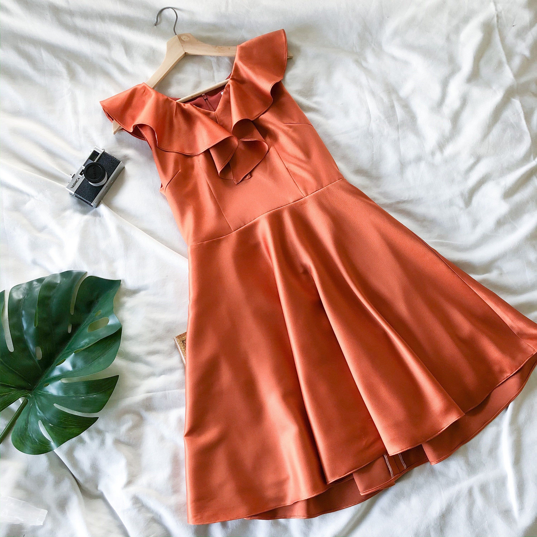 Orange Bridesmaid Dress Ruffle Dress Modest Dress Evening Etsy Evening Dresses Vintage Orange Bridesmaid Dresses Vintage Inspired Dresses [ 3000 x 3000 Pixel ]