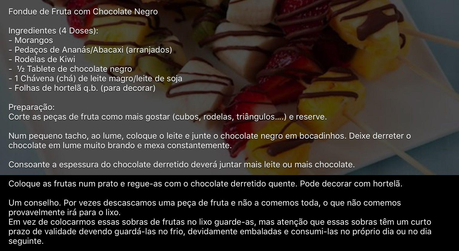Fondue de Frutas com Chocolate Negro