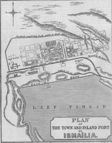 EGYPT Suez Canal Plan Of Suez Ismailia Port Map Egypt - Map of egypt 1920