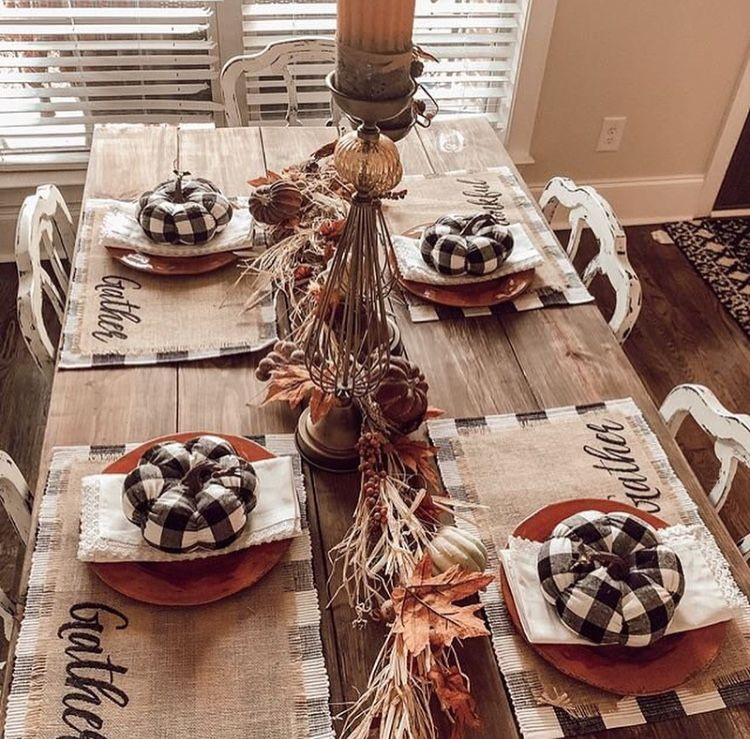 fascinating halloween dining room ideas | Fall in the Kitchen. Pumpkins. Gingham. Dining Room ...