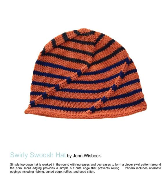 ad71937aacc17 Swirly Hat with Easy Swirl Design Knitting Pattern PDF