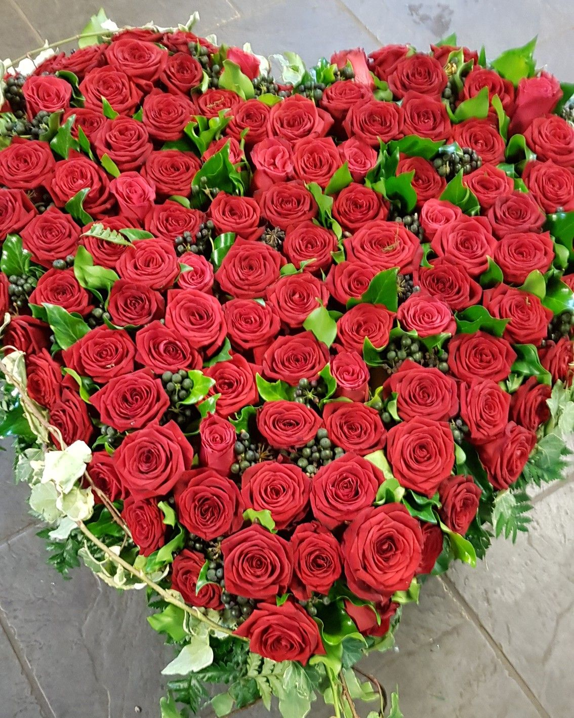 This red rose heart was a part of a trio for a