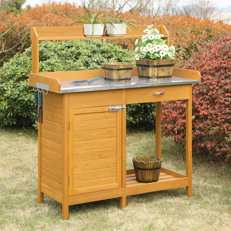 Outdoor Garden Organizer Stainless Steel Top Potting Bench 400 x 300