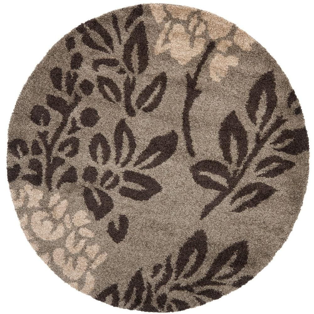 Safavieh Florida Shag Smoke Dark Brown 7 Ft X 7 Ft Round Area
