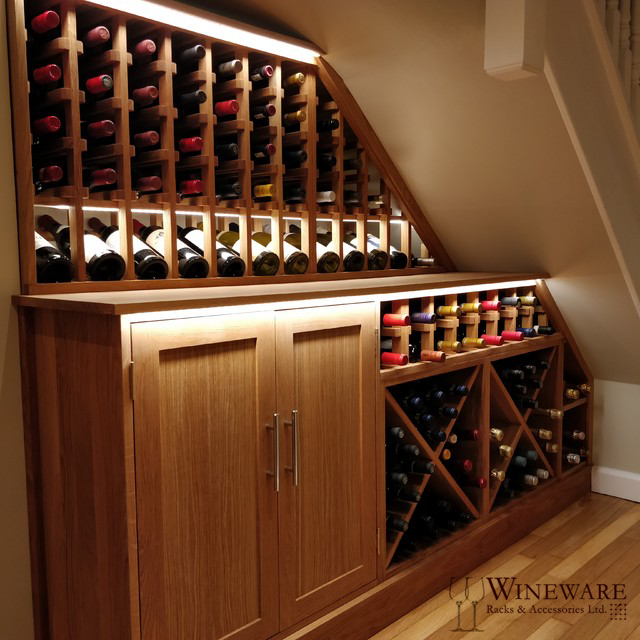 Bespoke Under Stairs Shelving: Bespoke Wine Racking Project Installed In Surrey, UK. Fits