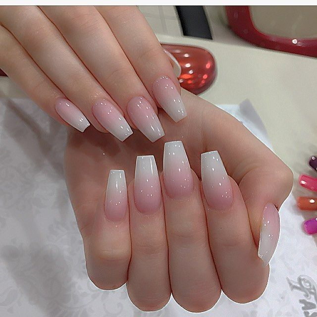 Sheer Pink Ombre Natural Look Allpowder Ombrenails Pink Ombre Nails Ombre Acrylic Nails Ambre Nails