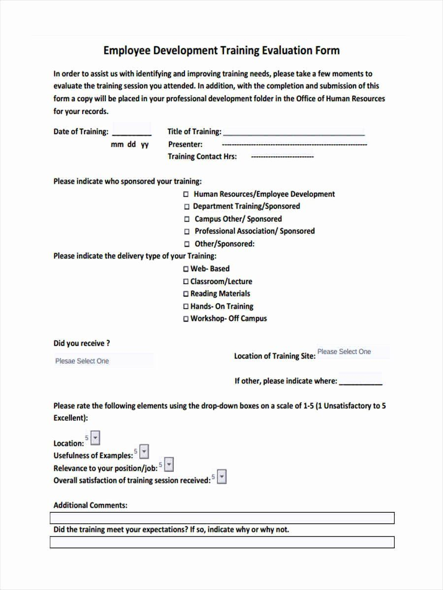 Training Feedback Form For Employees Inspirational Free 15 Training Feedback For Employee Development Training Training Evaluation Form Student Resume Template