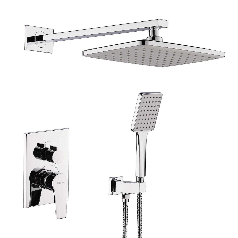 Kojox Shower System With High Pressure Rainfall Shower Head Handheld Shower Head And Shower Faucet Valve Bathroo Mixer Shower Shower Systems Rain Shower Head