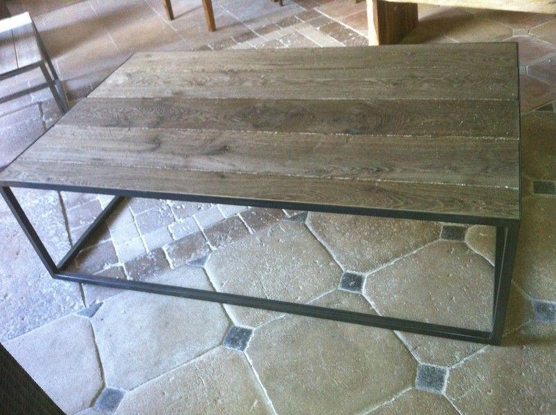 table basse fer forg vieux bois gris