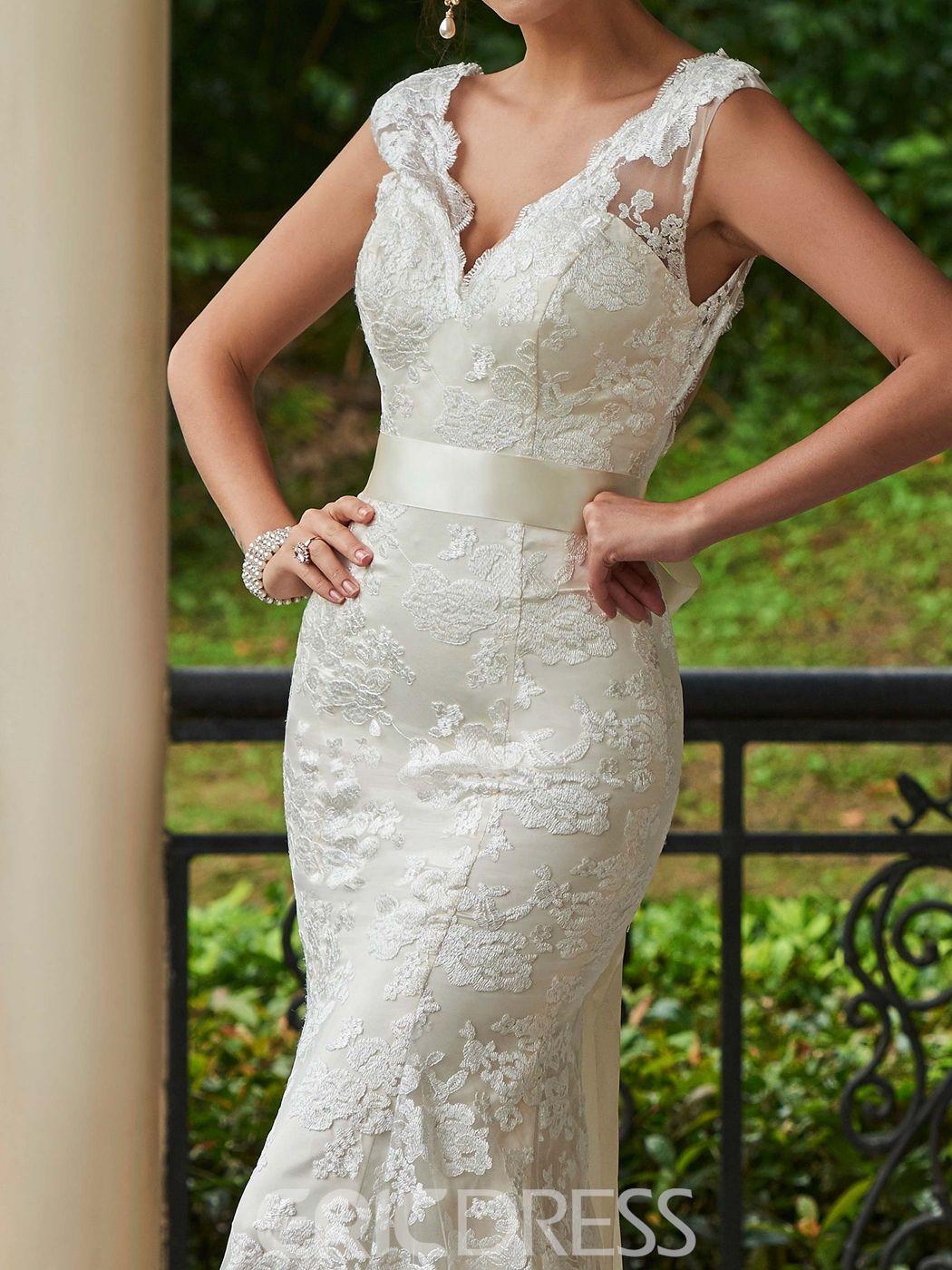 a4b539bd7e2 Ericdress Charming V Neck Backless Lace Mermaid Wedding Dress ...