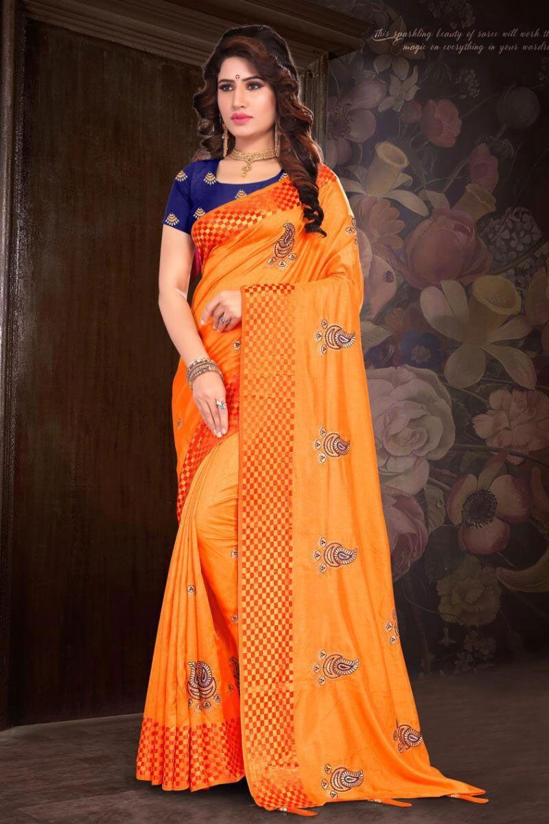 5edba04541a92f Orange Embroidery Work Event Wear Stylish Silk Saree With Blouse Piece  Catalog No   7563 Website