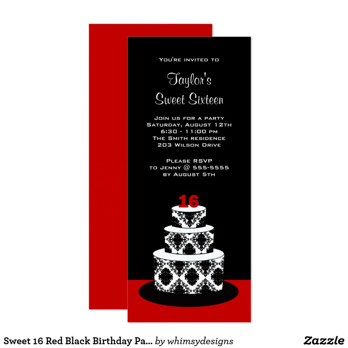 sweet 16 red black birthday party invitations birthday sweet