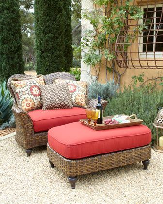 Outdoor Cuddle Chair & Ottoman at Horchow... For my front porch - I ...